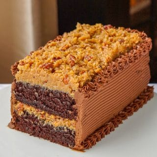 German Chocolate Cake cut to see interior shot.