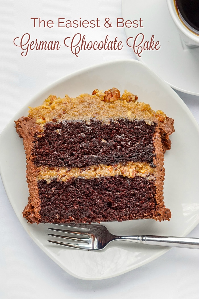 German Chocolate Cake image of a single slice on white plate with title text for Pinterest
