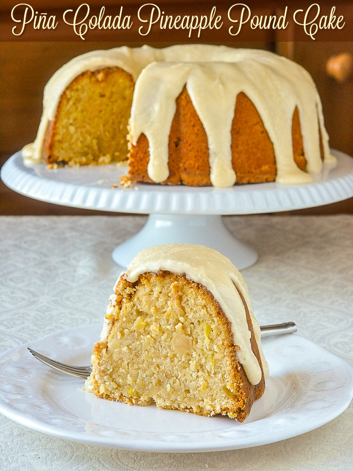 Piña Colada Pineapple Pound Cake photo with title text for Pinterest