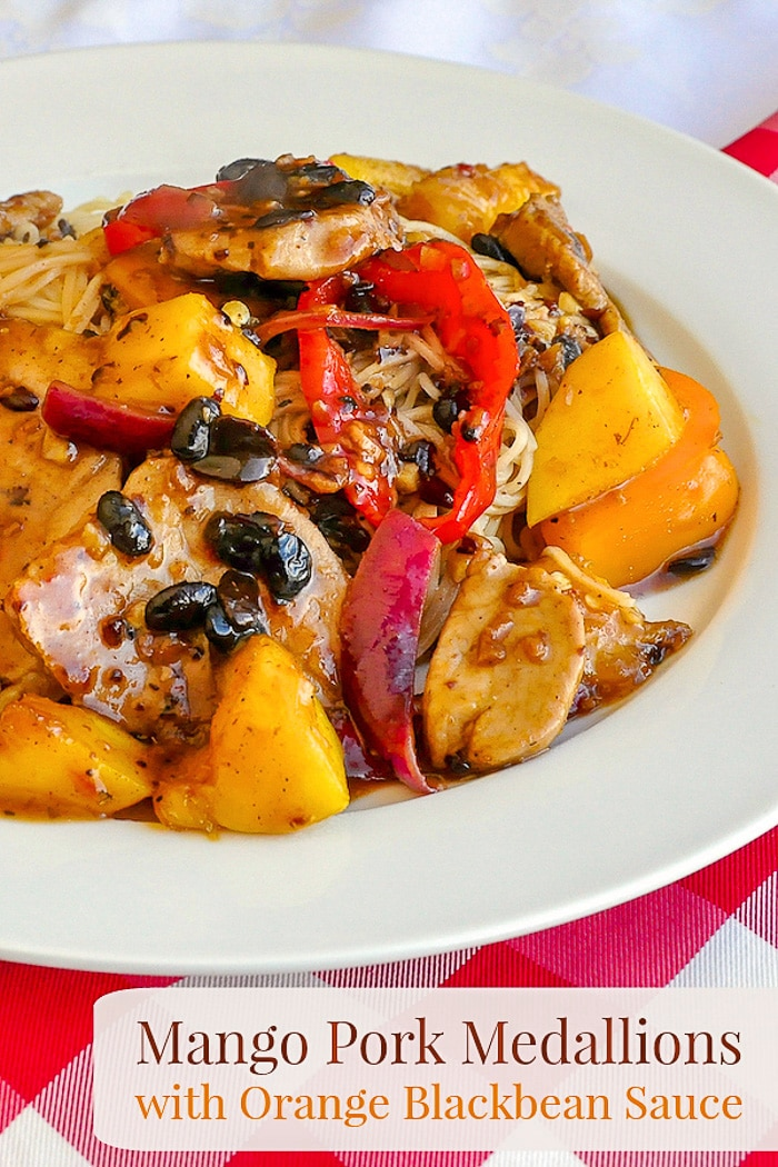 Mango Pork Medallions with Orange Blackbean Sauce photo of one serving with title text for Pinterest