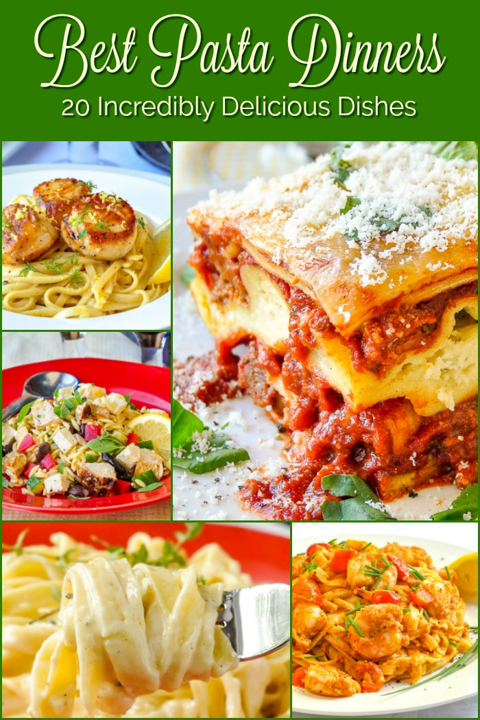 Best Pasta Dinners photo with title text for Pinterest