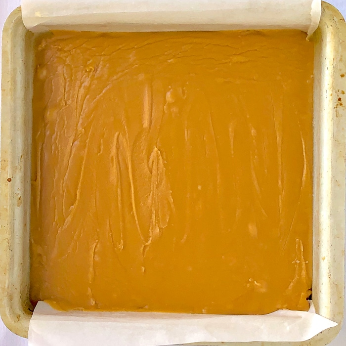 Old Fashioned Brown Sugar Fudge cooled and set in 8 inch pan