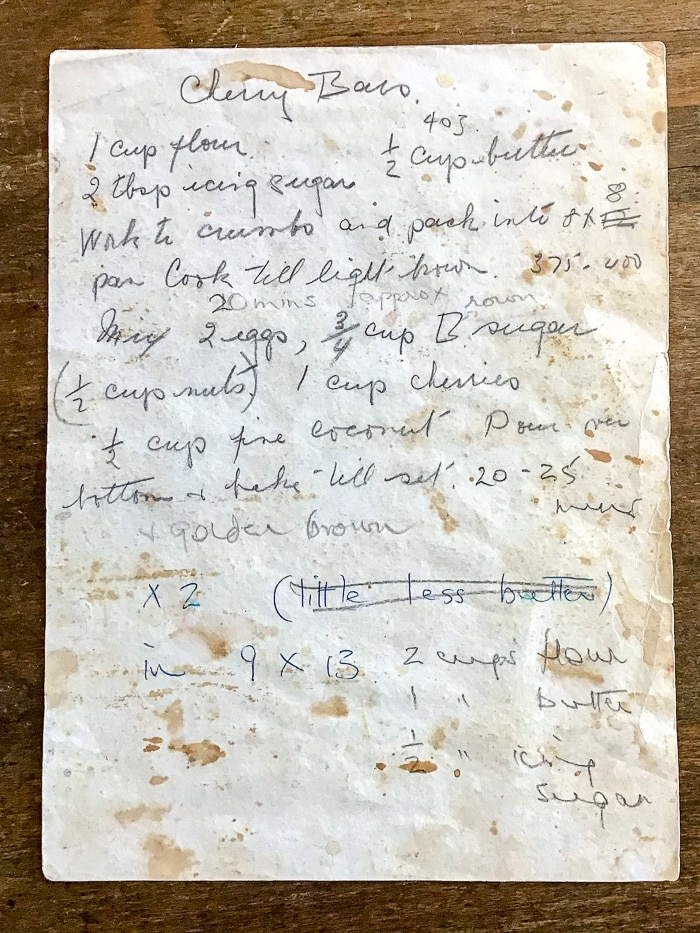 Patsy's hand written recipe for cherry bars.
