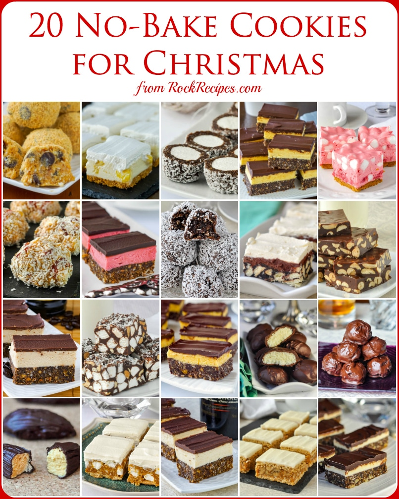 No Bake Christmas Cookies For Christmas photo collage with title text for Pinterest