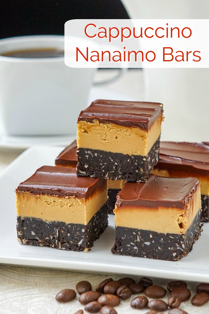 Cappuccino Nanaimo Bars photo with title text for Pinterest