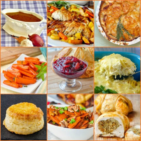 Thanksgiving Side Dishes 9 photo square collage for featured image