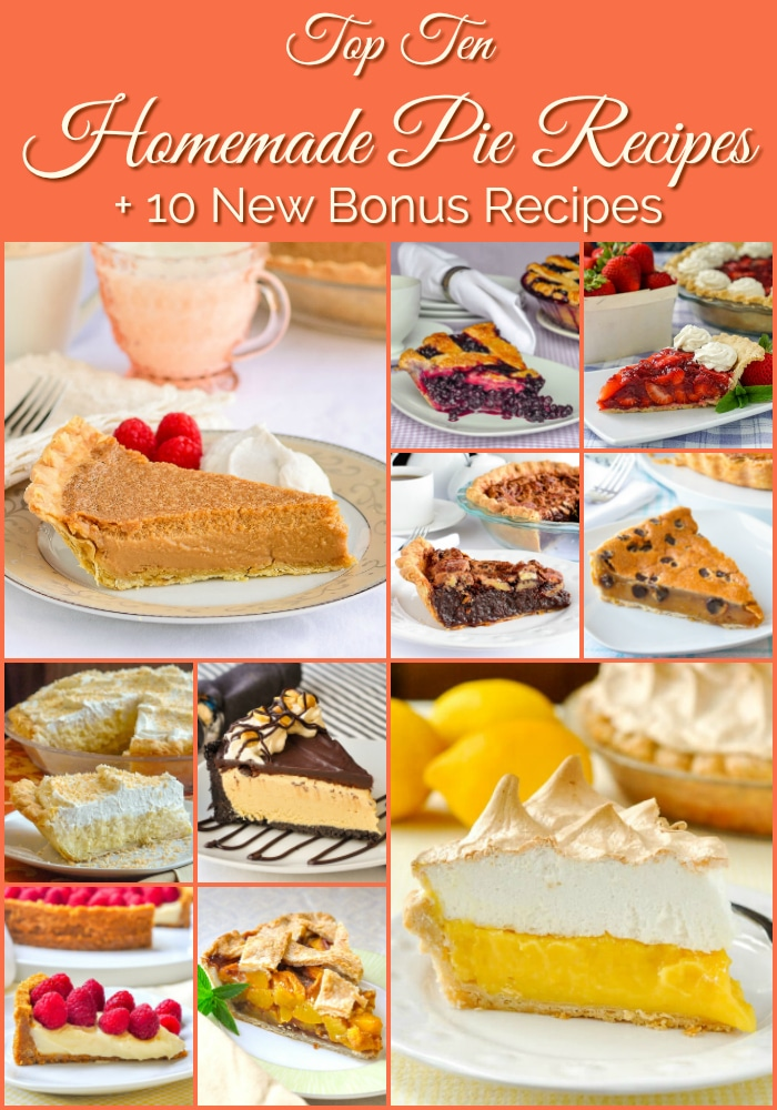 Top Ten Pie Recipes photo collage with title text added for Pinterest