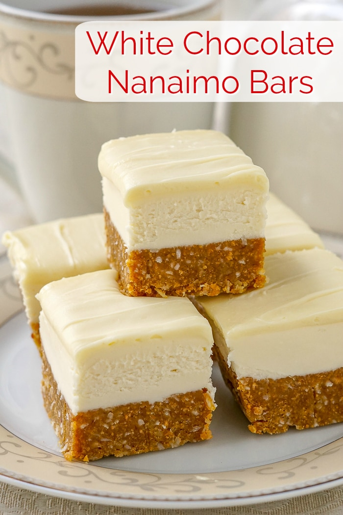 White Chocolate Nanaimo Bars photo with title text for Pinterest
