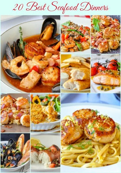 20 Best Seafood Dinner Recipes photo collage with title text for Pinterest