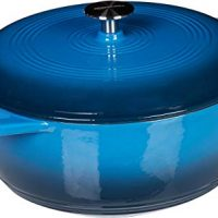 AmazonBasics Enameled Cast Iron Covered Dutch Oven, 7.3-Quart, Blue