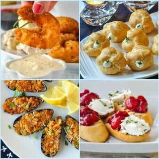 Best Finger Foods for Holiday Parties four photop collage for post featured image