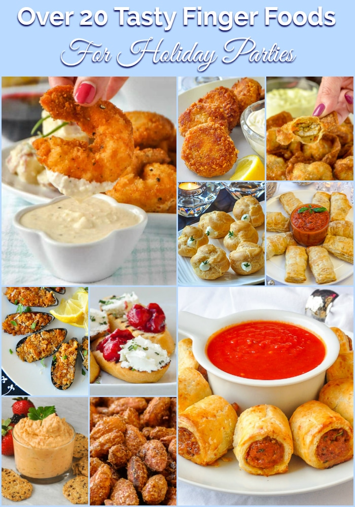 Best Finger Foods for Holiday Parties photo collage with title text for Pinterest