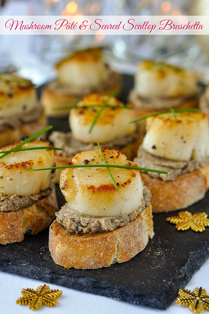 Mushroom Pâté and Seared Scallop Bruschetta photo with title text for Pinterest
