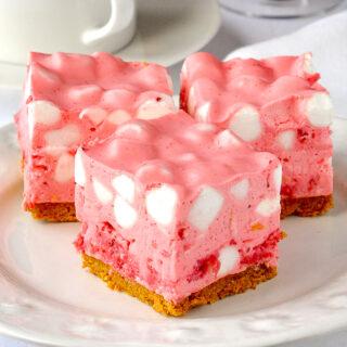 Strawberry Chiffon Squares close up photo of 3 squares