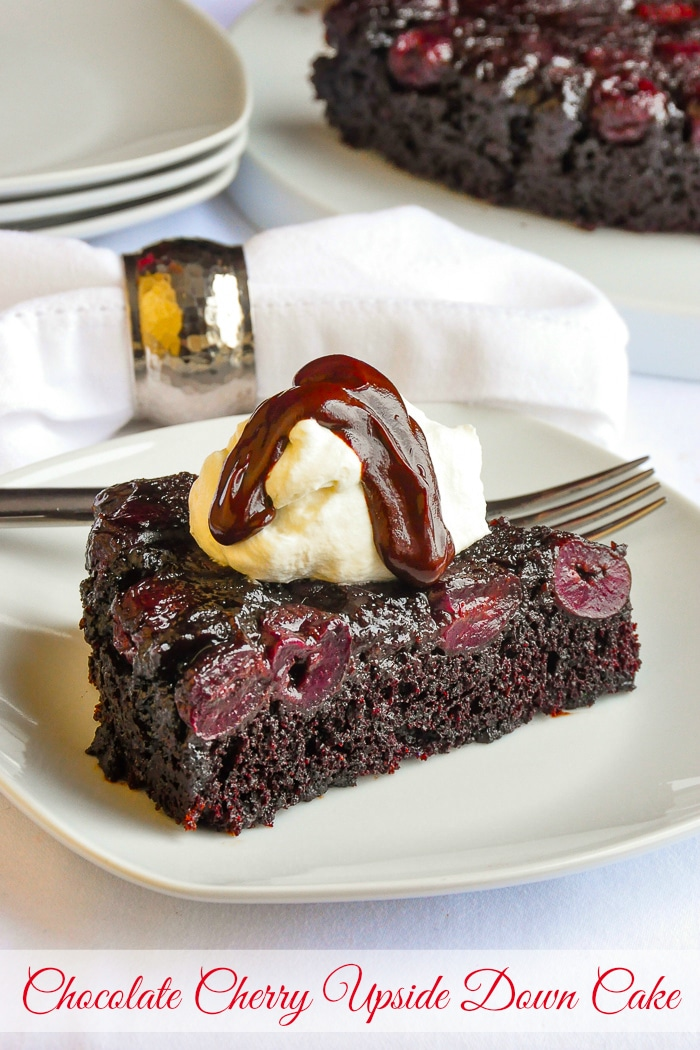 Chocolate Cherry Upside Down Cake photo of singe slice with title text added for Pinterest