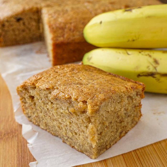 Honey Banana Snack Cake close up featured image od one piece of cake