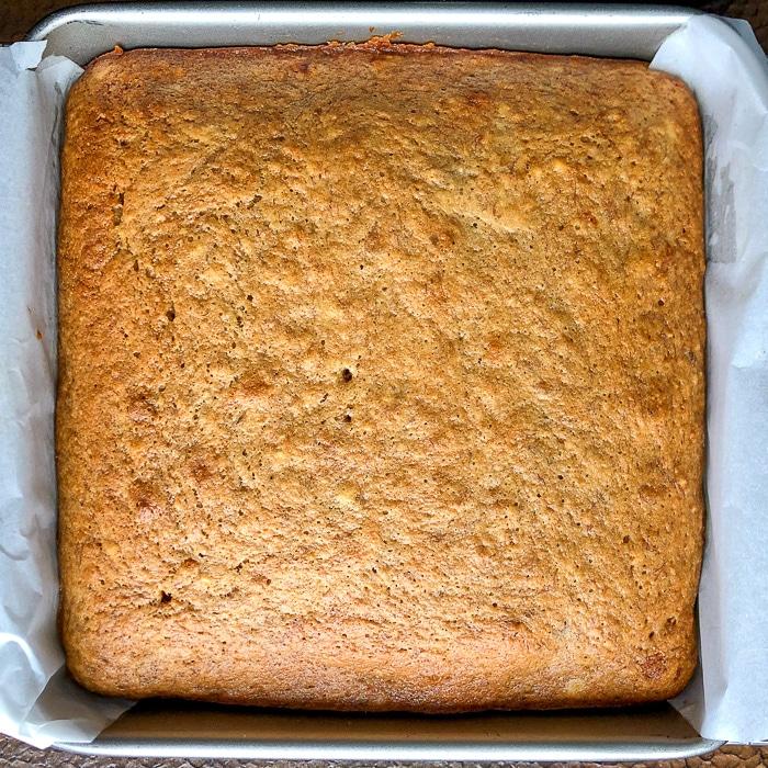 Honey Banana Snack Cake fresh from the oven