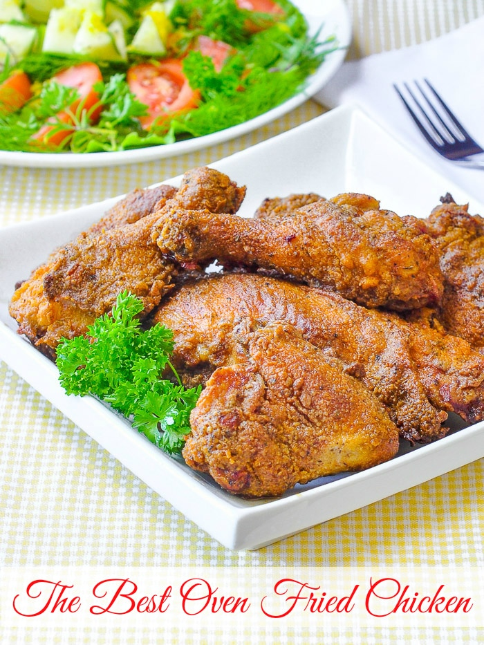 Oven Fried Chicken photo with title text added for Pinterest