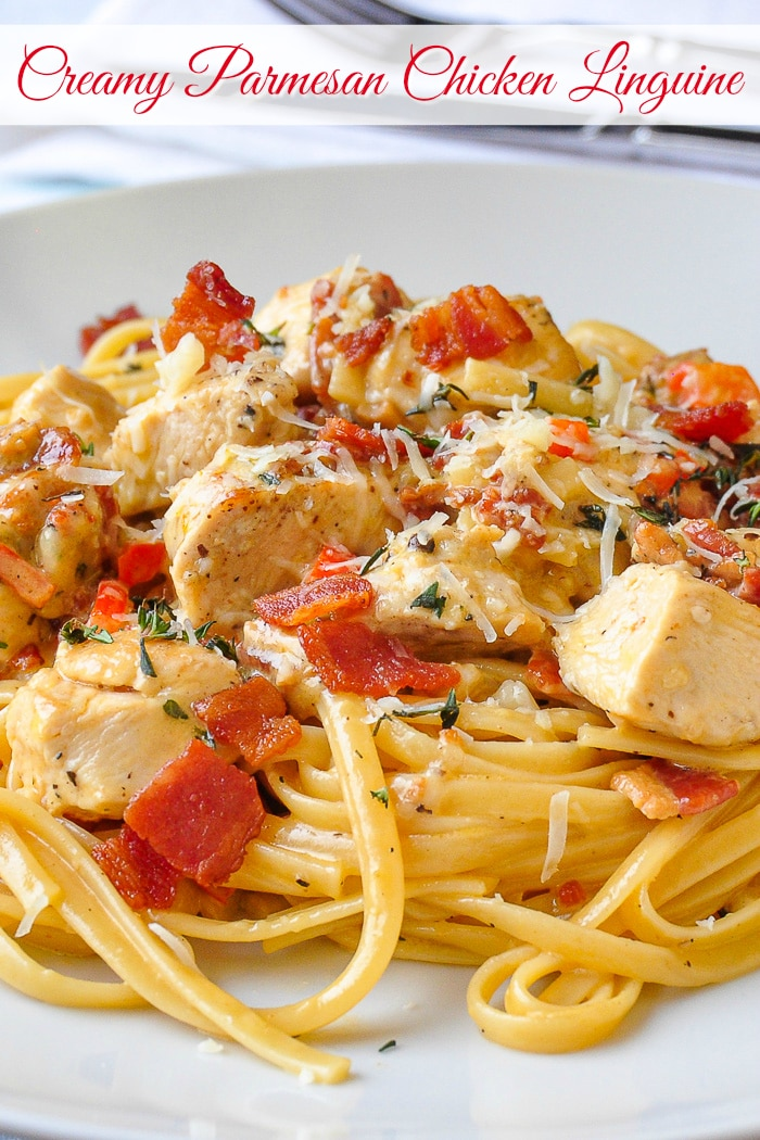 Parmesan Chicken Linguine photo with title text for Pinterest