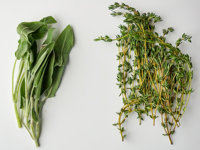 Photo of fresh sage and thyme on a white background
