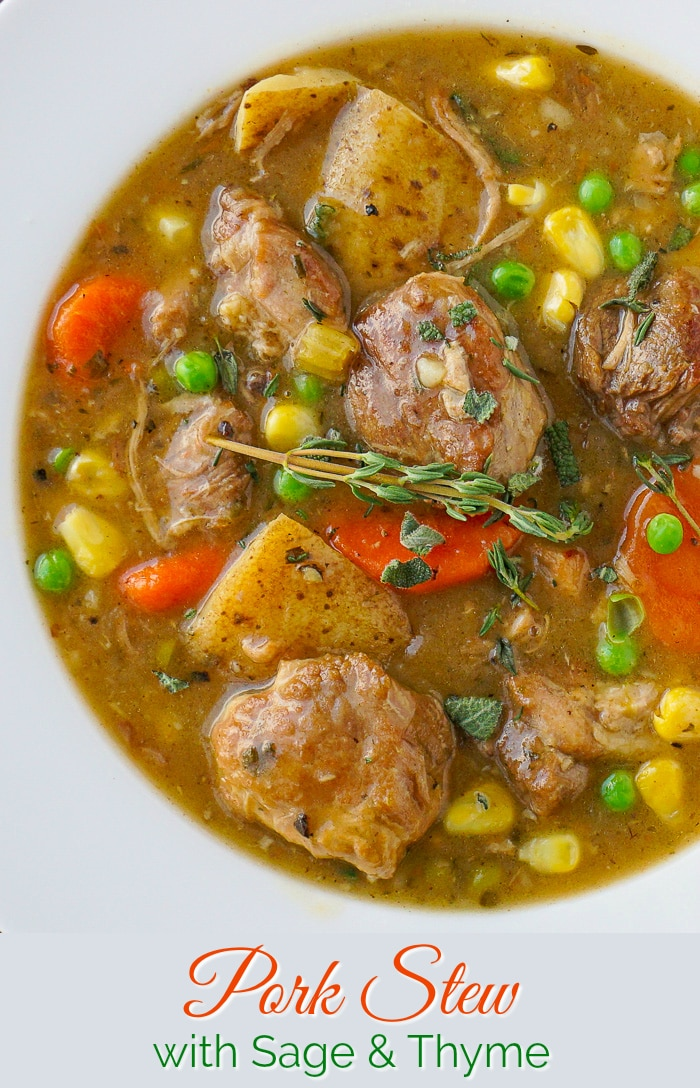 Pork Stew with sage and thyme in a white bowl with title text added for Pinterest