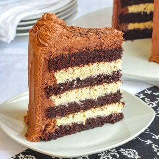Triple Chocolate Truffle Cake close up photo of a single slice on a white plate
