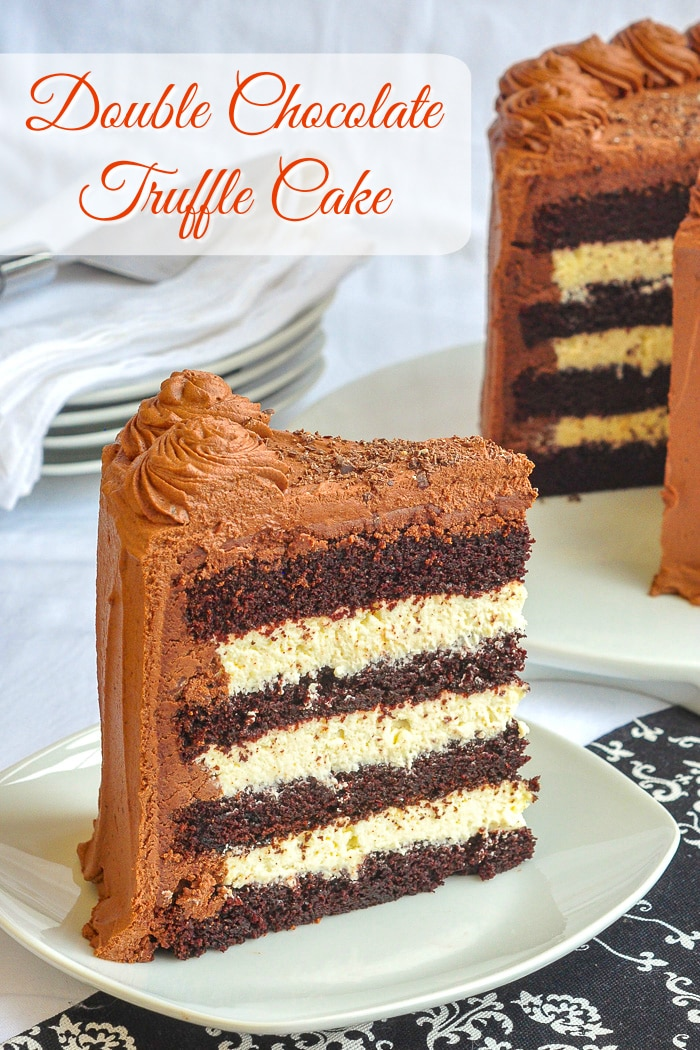 Triple Chocolate Truffle Cake photo of a single slice of cake with title text added for Pinterest