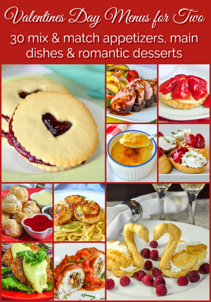 Valentines Day Menus for Two photo collage with title text for Pinterest