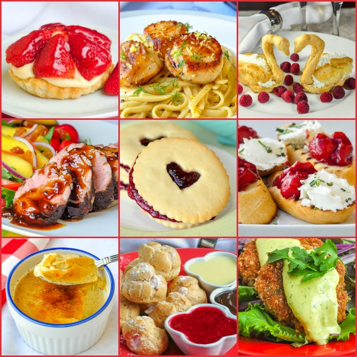 Valentines Day Menus for Two square photo collage for this posts featured image