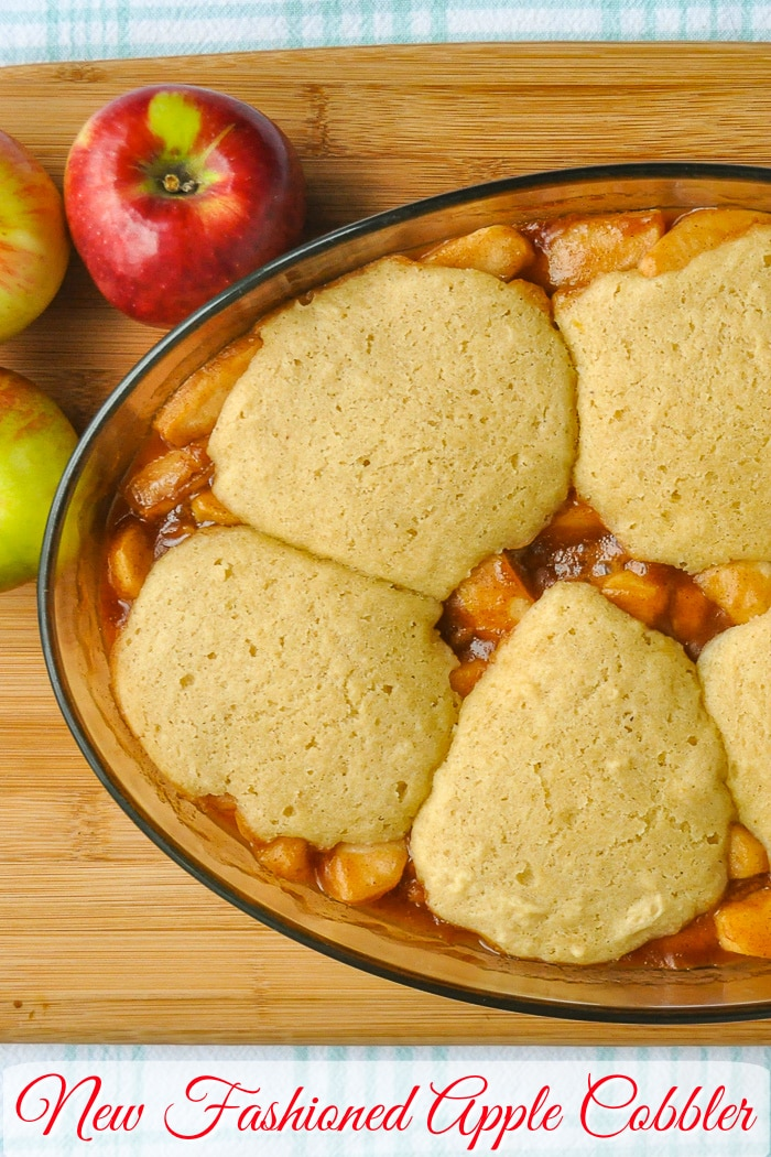 Apple Cobbler overhead close up photo with title text for Pinterest