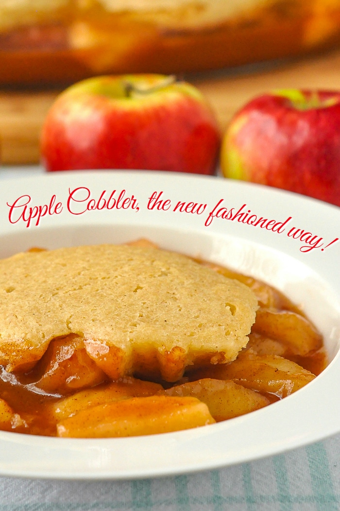 Apple Cobbler photo of a single serving in a white bowl with title text added for Pinterest
