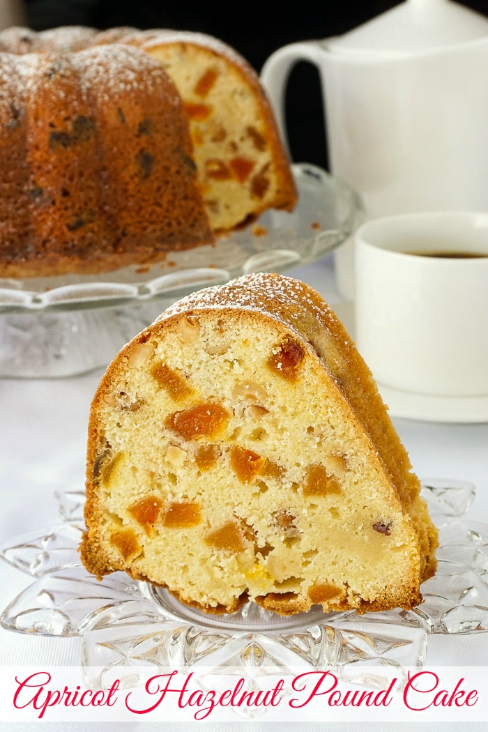 Apricot Hazelnut Pound Cake photo with title text for Pinterest