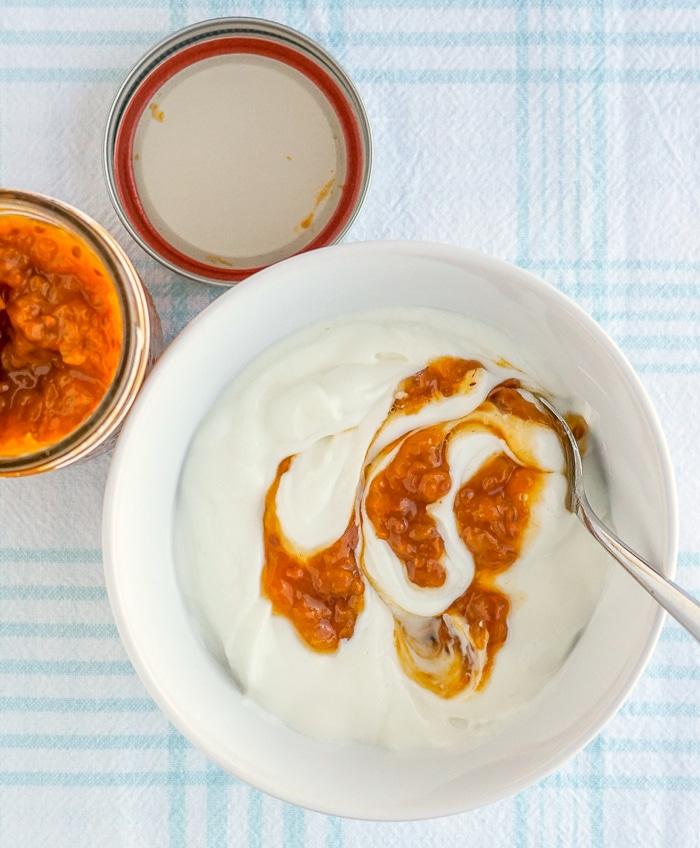Bakeapple Jam swirled into plain yogurt