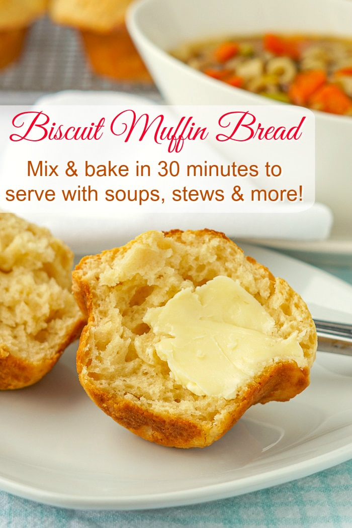Biscuit Muffin Bread photo with title text for Pinterest