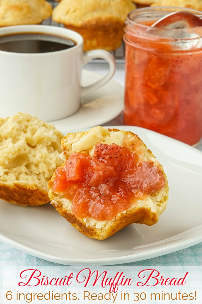 Biscuit Muffin Bread shown served with jam at brunch with title text added for Pinterest