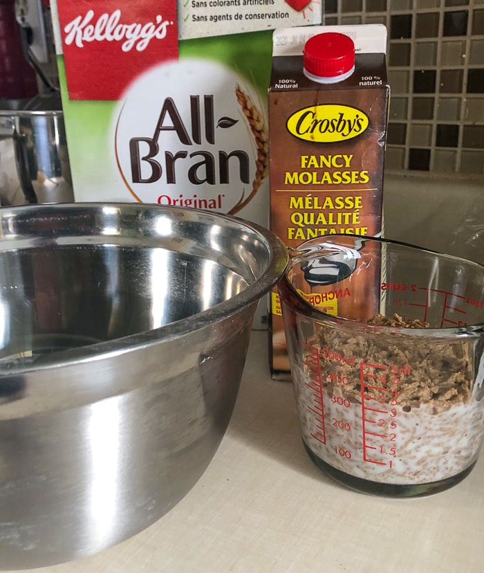 Core ingredients for Ultimate Bran Muffins, molasses and all bran.