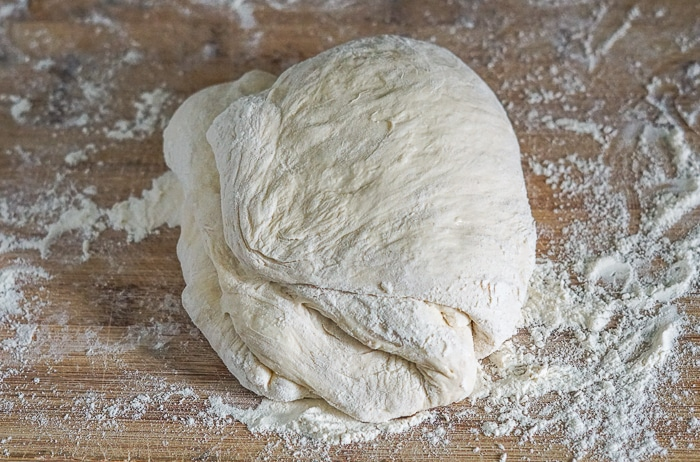 Dough just before final shaping into a smooth ball
