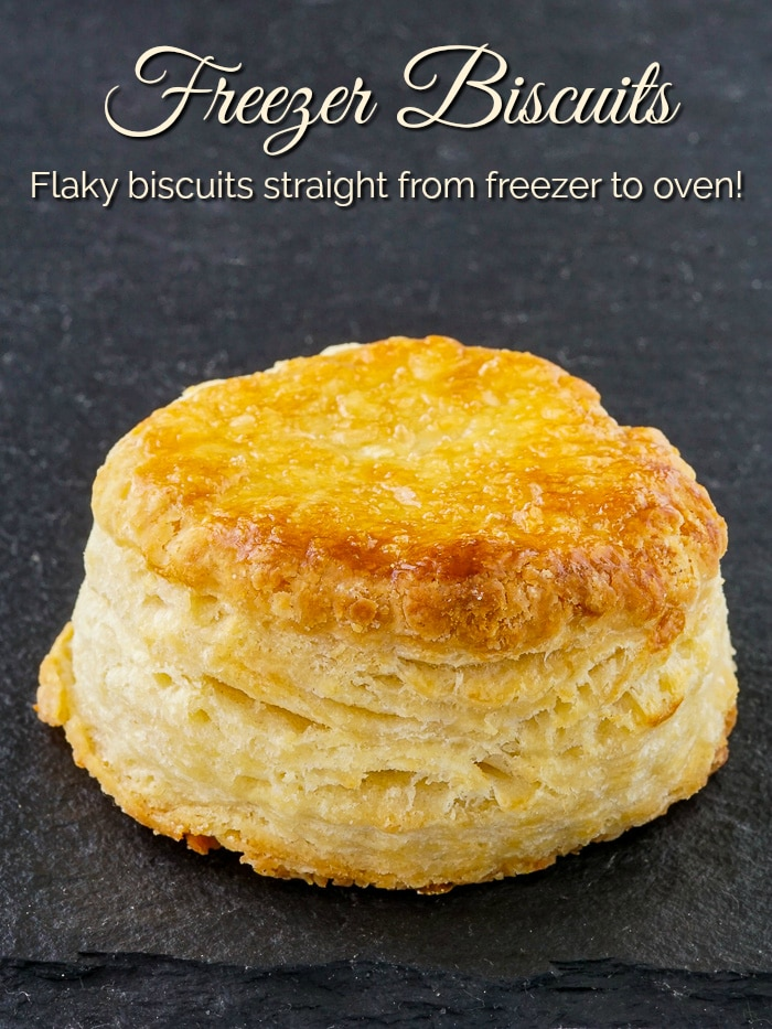 Freezer Biscuits photo with title text for Pinterest