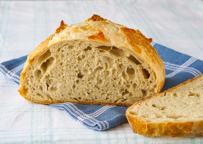 Freshly cut loaf using unbleached flour