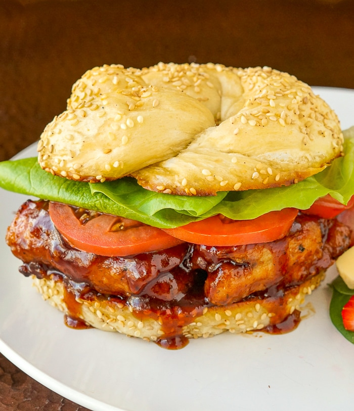 Honey Garlic Barbecue Chicken Burger on a white plate