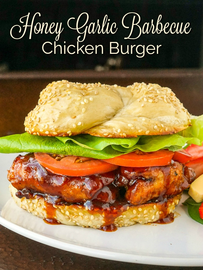 Honey Garlic Barbecue Chicken Burger photo with title text for Pinterest