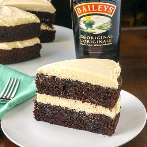 Irish Coffee Cake photo of a single slice on a white plate