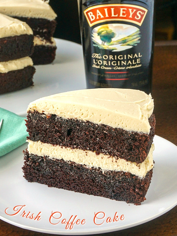 Irish Coffee Cake photo with title text for Pinterest
