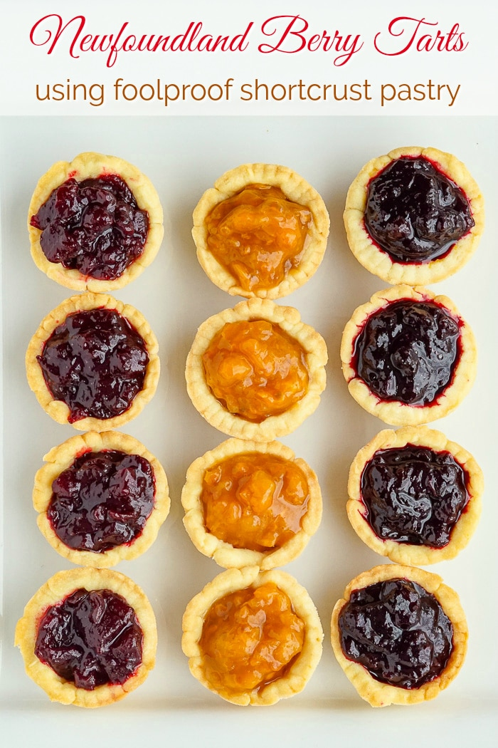 Jam Tarts overhead photo of 3 tart versions on a white plate with title text added for Pinterest