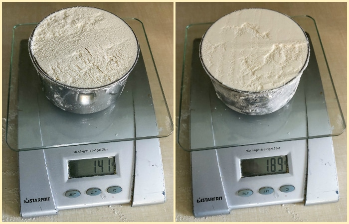 How to Measure Flour Correctly. Two photo collage showing the weight of a cup of flour measured two different ways.