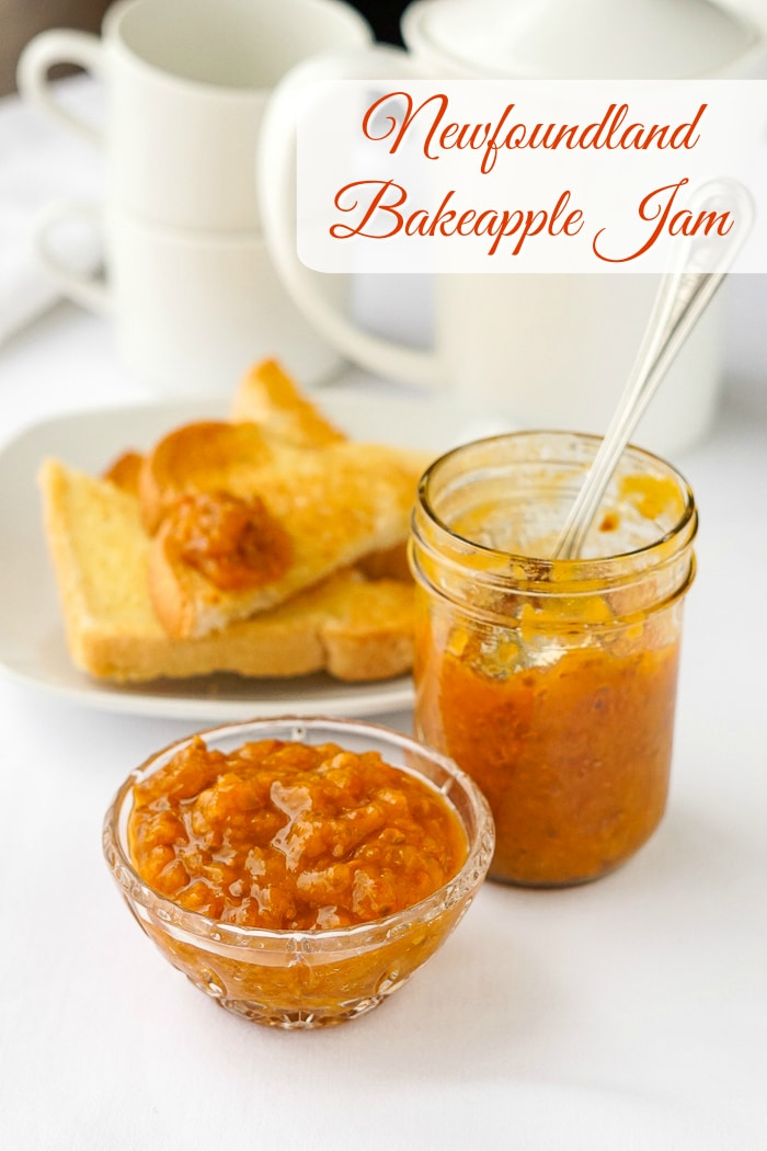 Newfoundland Bakeapple Jam photo with title text added for Pinterest