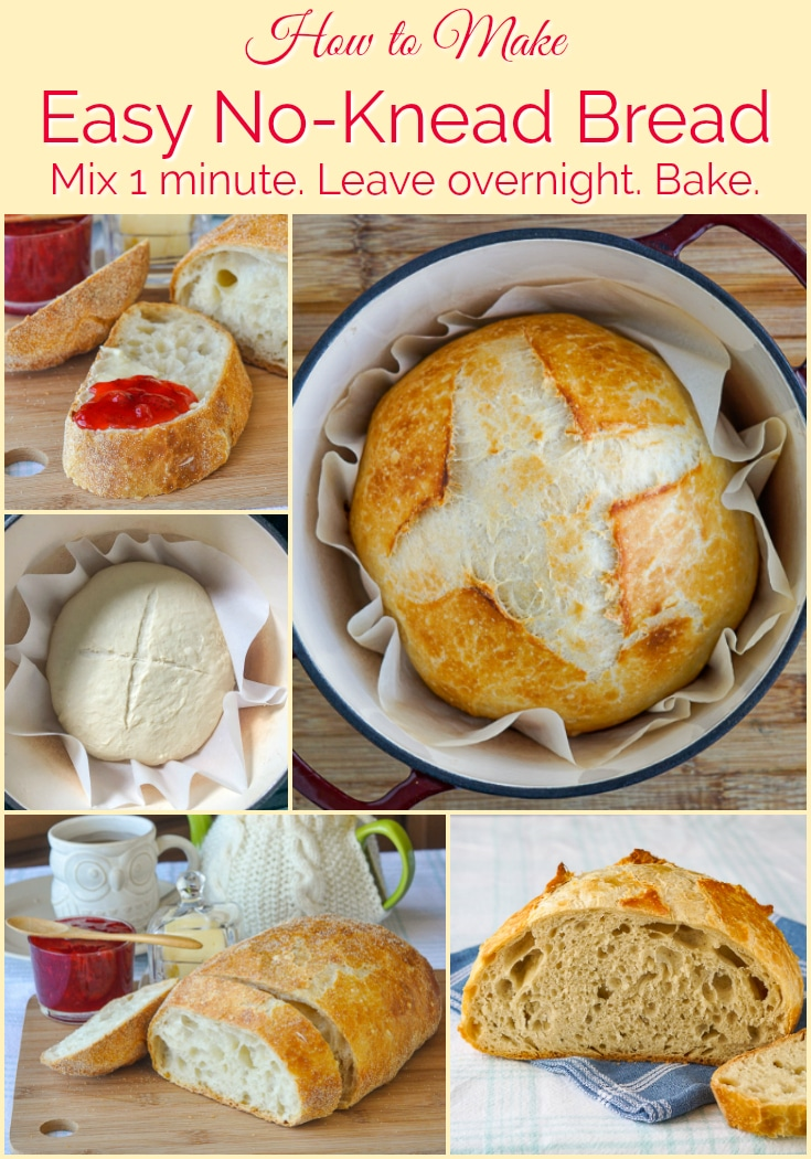 No Knead Bread photo collage with title text added for Pinterest