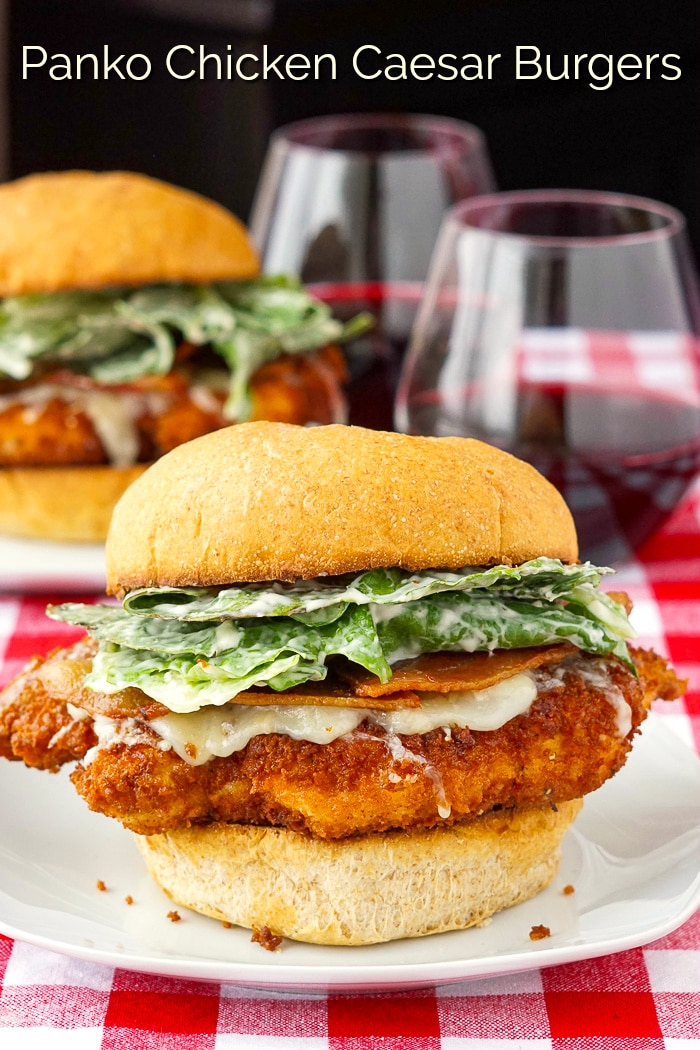 Panko Chicken Caesar Burgers photo with title text added for Pinterest