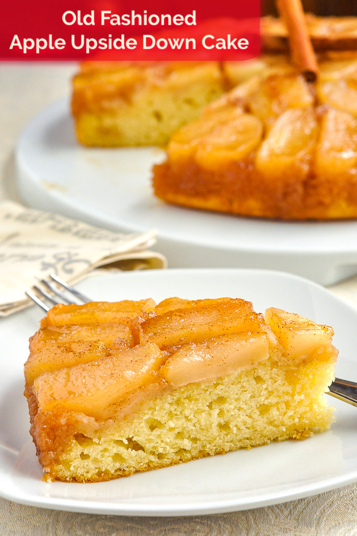 Photo of a single slice of Apple Upside Down Cake with title text added for Pinterest