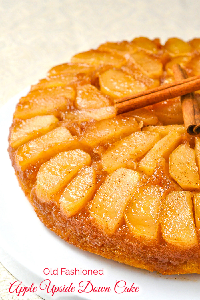 Photo of uncut Apple Upside Down Cake with title text added for Pinterest